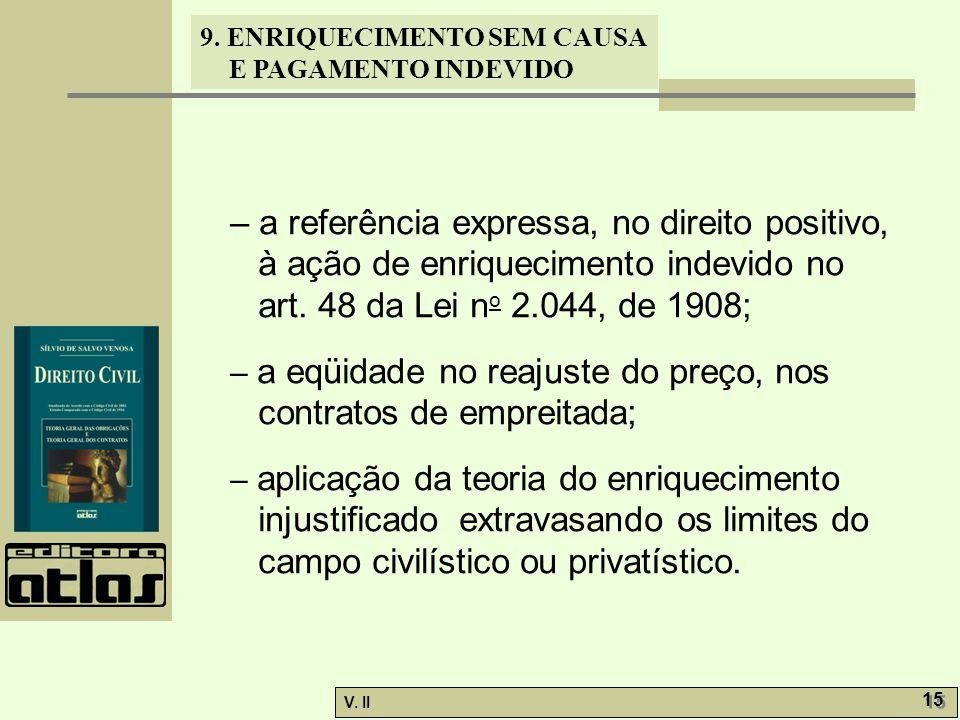 – a referência expressa, no direito positivo, à ação de enriquecimento indevido no art. 48 da Lei no 2.044, de 1908;