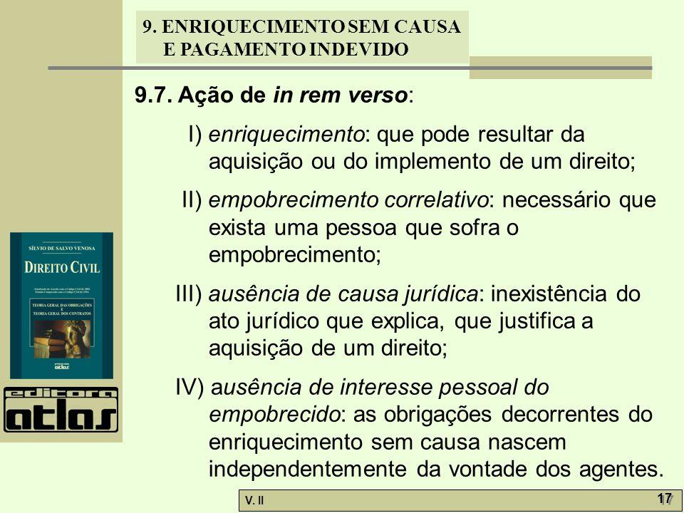 9.7. Ação de in rem verso: I) enriquecimento: que pode resultar da aquisição ou do implemento de um direito;