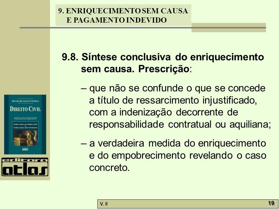 9.8. Síntese conclusiva do enriquecimento sem causa. Prescrição: