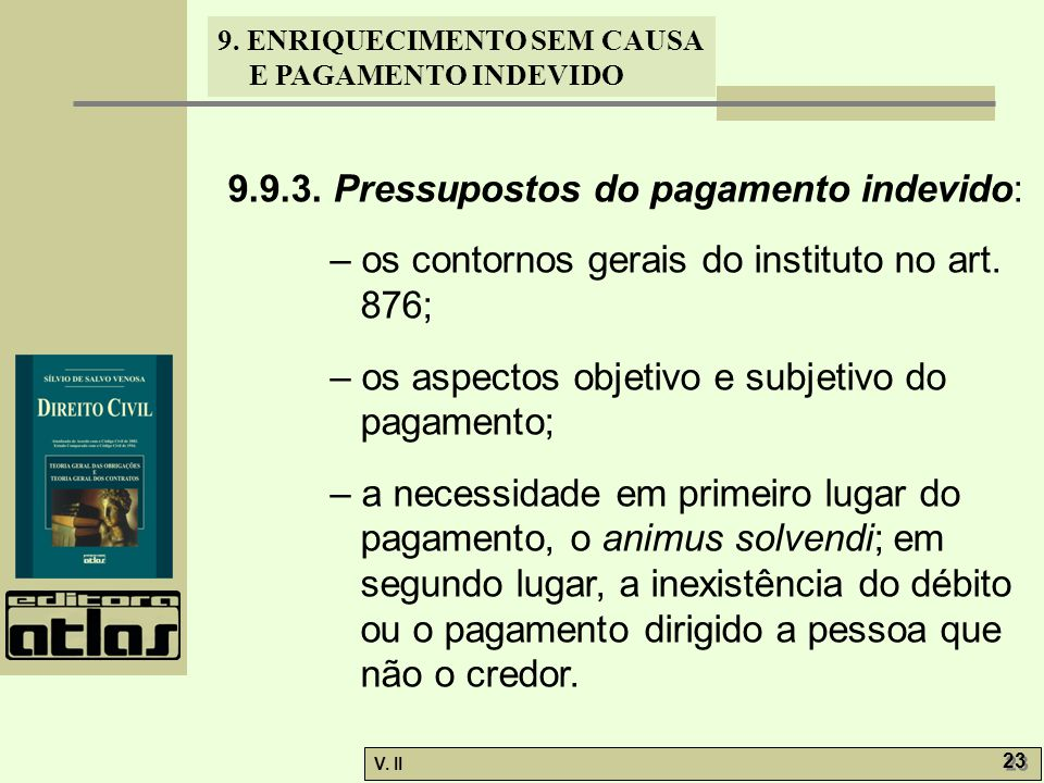 9.9.3. Pressupostos do pagamento indevido: