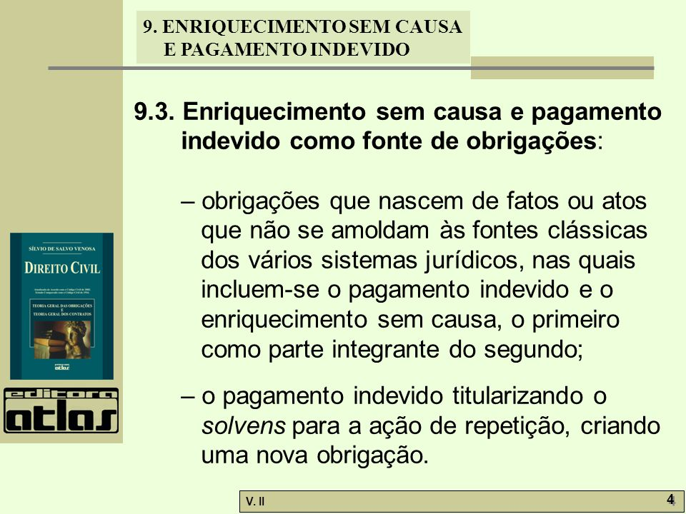 9.3. Enriquecimento sem causa e pagamento indevido como fonte de obrigações: