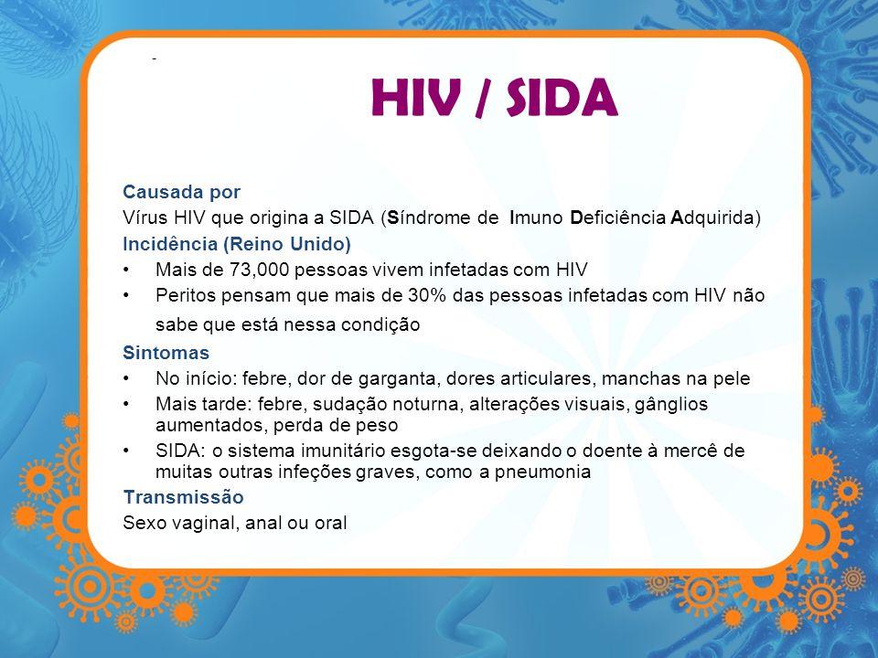 HIV / SIDA Causada por. Vírus HIV que origina a SIDA (Síndrome de Imuno Deficiência Adquirida) Incidência (Reino Unido)