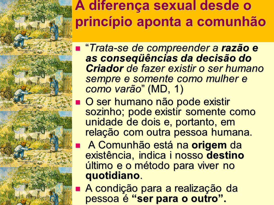 A diferença sexual desde o princípio aponta a comunhão