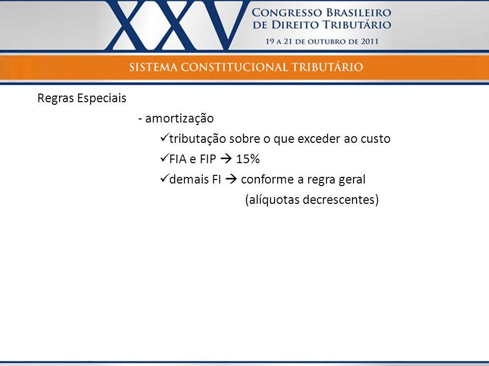Regras Especiais - amortização. tributação sobre o que exceder ao custo. FIA e FIP  15% demais FI  conforme a regra geral.