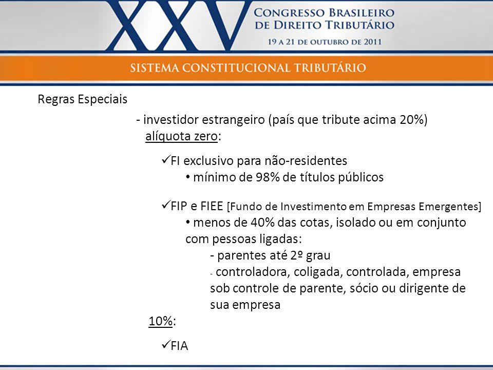 Regras Especiais - investidor estrangeiro (país que tribute acima 20%) alíquota zero: FI exclusivo para não-residentes.