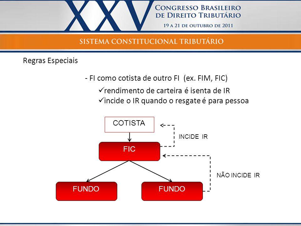 - FI como cotista de outro FI (ex. FIM, FIC)