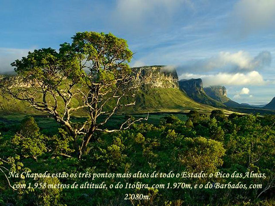 Na Chapada estão os três pontos mais altos de todo o Estado: o Pico das Almas, com 1.958 metros de altitude, o do Itobira, com 1.970m, e o do Barbados, com 2.080m.
