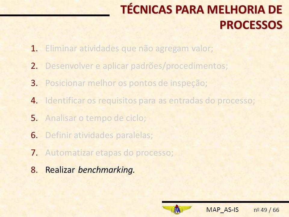 TÉCNICAS PARA MELHORIA DE PROCESSOS