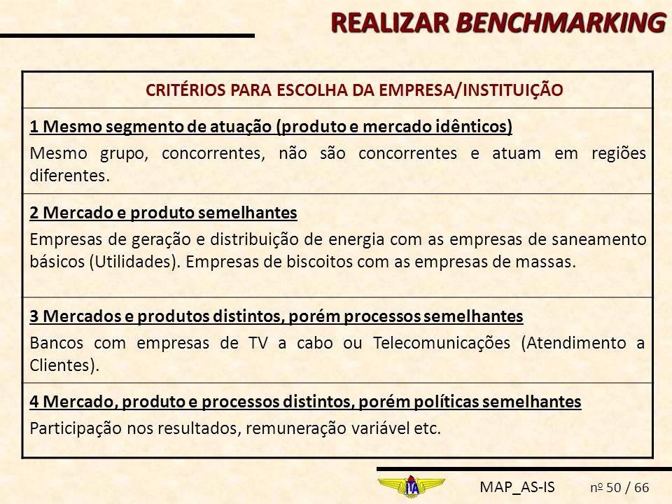 CRITÉRIOS PARA ESCOLHA DA EMPRESA/INSTITUIÇÃO