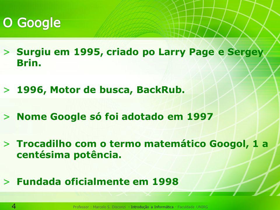 O Google Surgiu em 1995, criado po Larry Page e Sergey Brin.