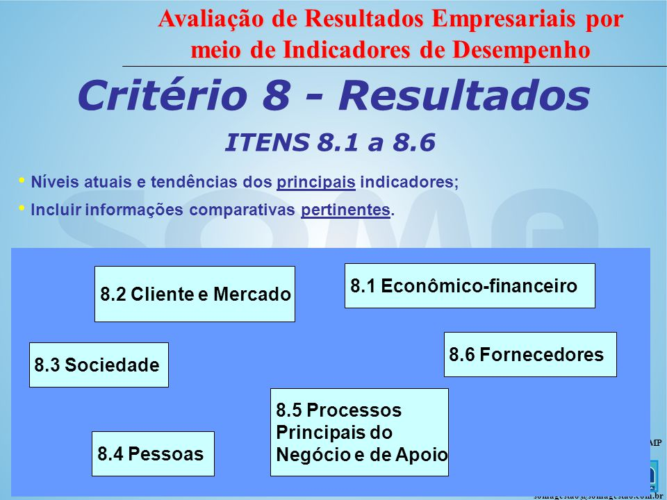 Critério 8 - Resultados ITENS 8.1 a 8.6 8.1 Econômico-financeiro