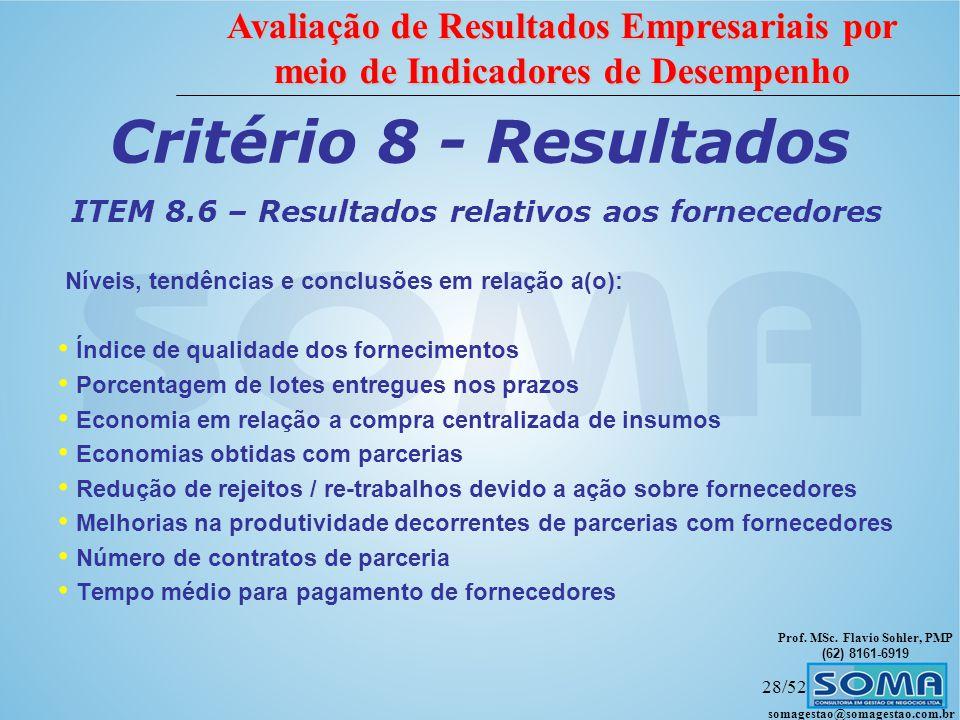 ITEM 8.6 – Resultados relativos aos fornecedores