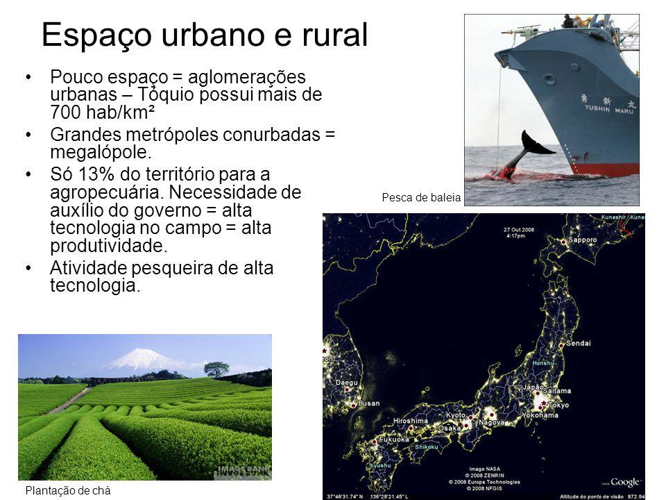 Espaço urbano e rural Pesca de baleia. Pouco espaço = aglomerações urbanas – Tóquio possui mais de 700 hab/km².