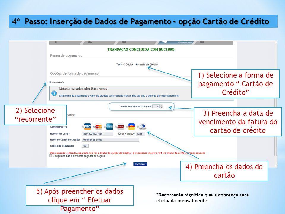 4º Passo: Inserção de Dados de Pagamento – opção Cartão de Crédito