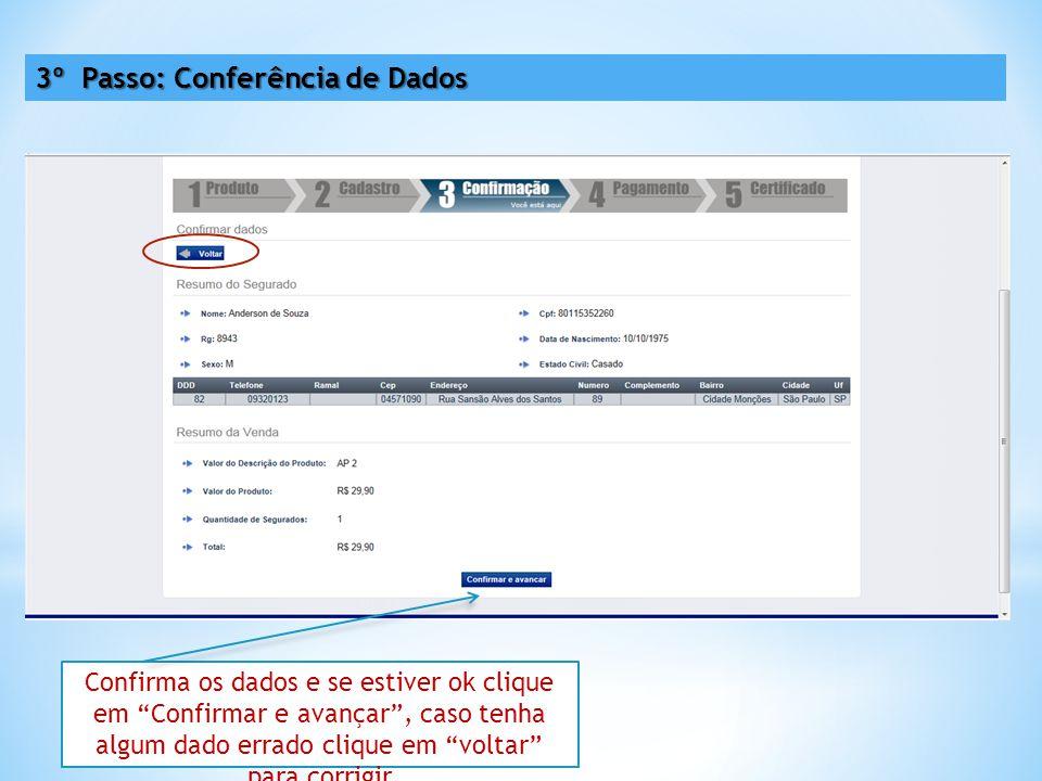 3º Passo: Conferência de Dados