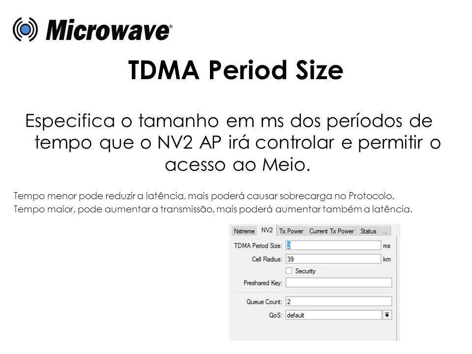 TDMA Period Size Especifica o tamanho em ms dos períodos de tempo que o NV2 AP irá controlar e permitir o acesso ao Meio.
