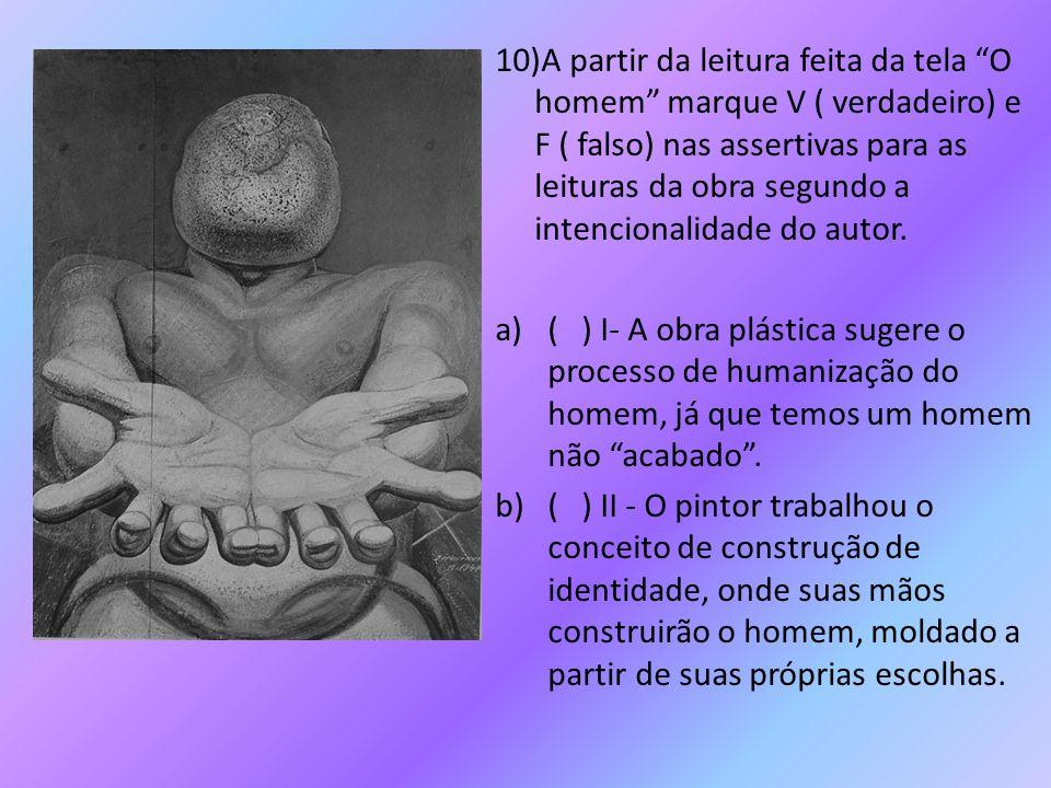 10)A partir da leitura feita da tela O homem marque V ( verdadeiro) e F ( falso) nas assertivas para as leituras da obra segundo a intencionalidade do autor.