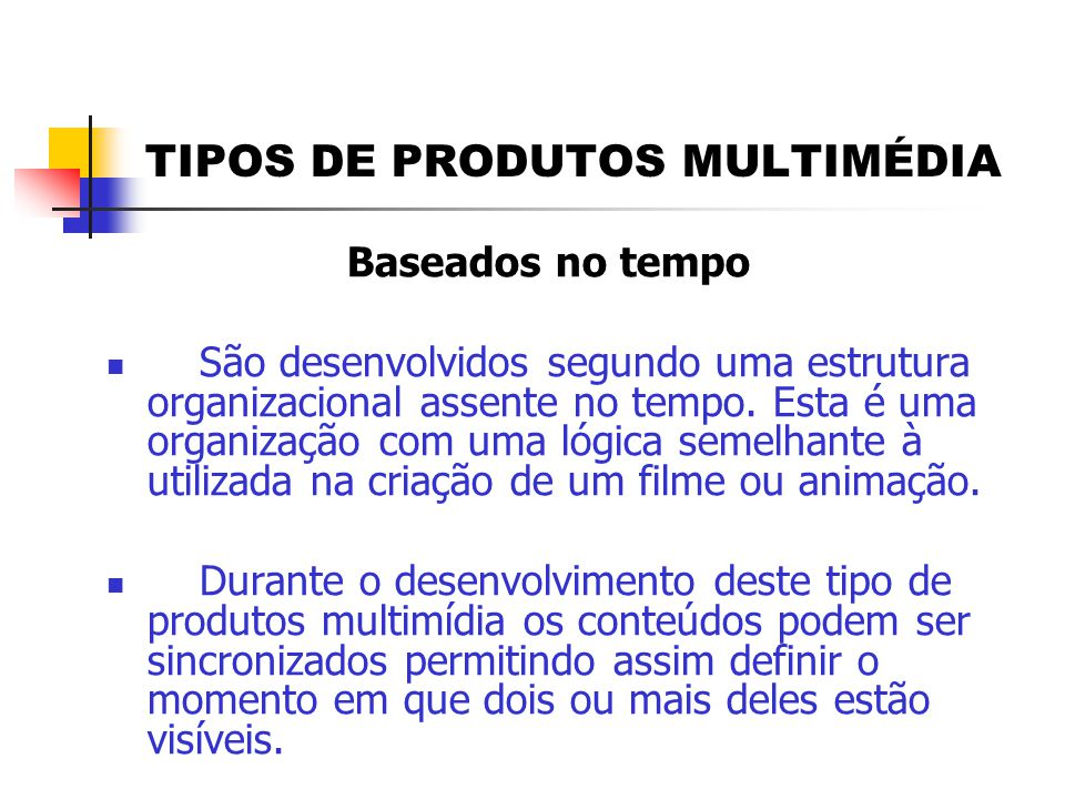 TIPOS DE PRODUTOS MULTIMÉDIA