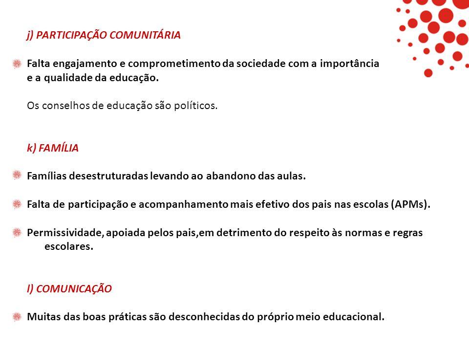 j) PARTICIPAÇÃO COMUNITÁRIA