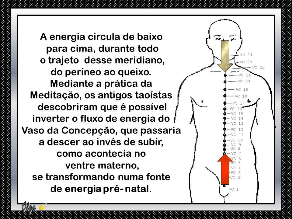 A energia circula de baixo para cima, durante todo