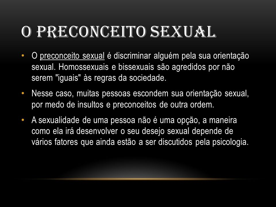 O Preconceito Sexual