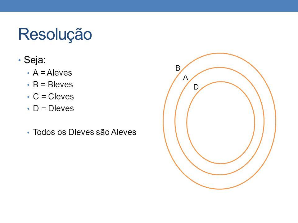 Resolução Seja: A = Aleves B = Bleves C = Cleves D = Dleves