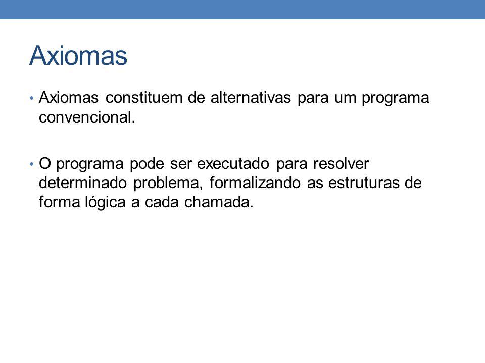 Axiomas Axiomas constituem de alternativas para um programa convencional.