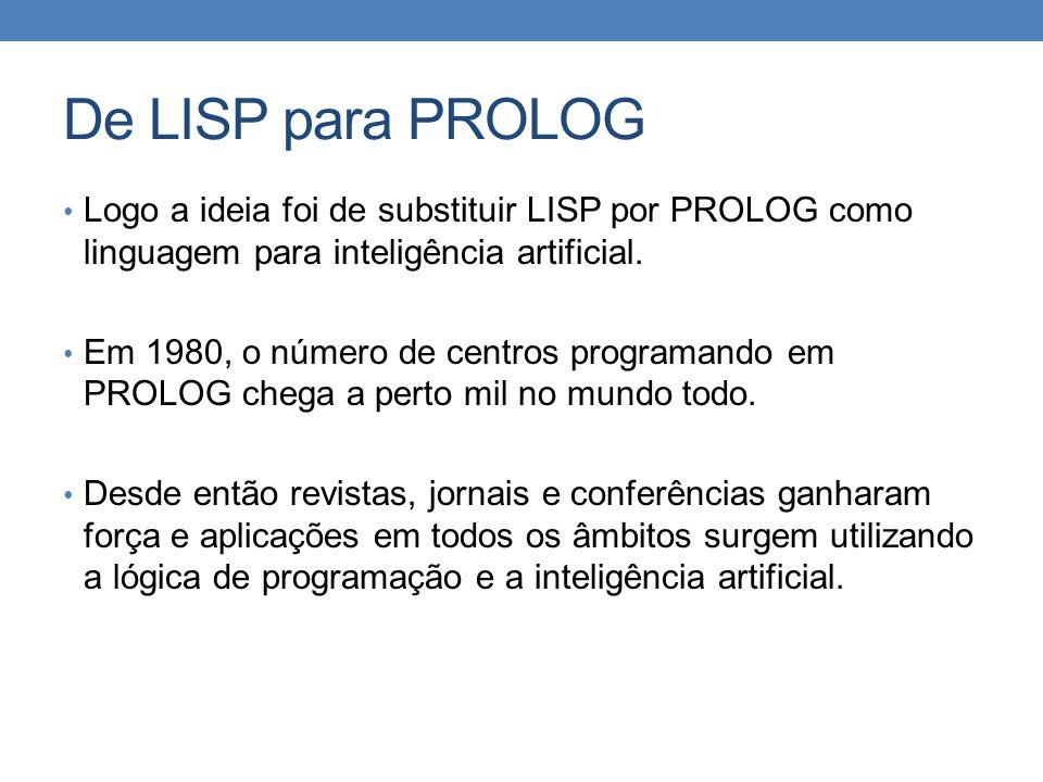 De LISP para PROLOG Logo a ideia foi de substituir LISP por PROLOG como linguagem para inteligência artificial.