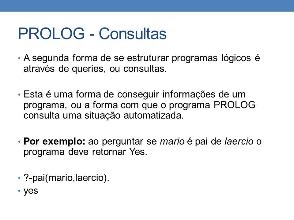 PROLOG - Consultas A segunda forma de se estruturar programas lógicos é através de queries, ou consultas.