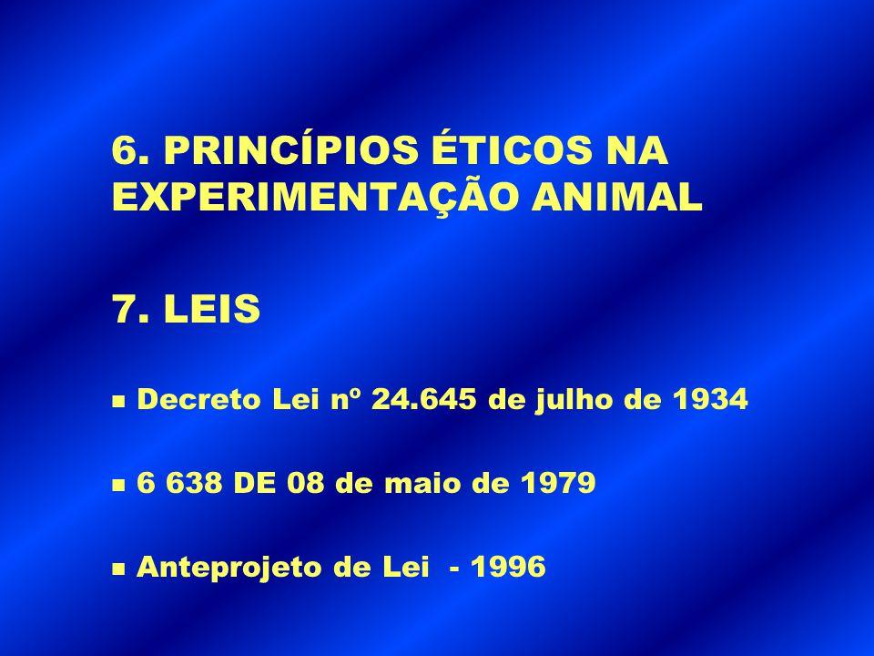 6. PRINCÍPIOS ÉTICOS NA EXPERIMENTAÇÃO ANIMAL
