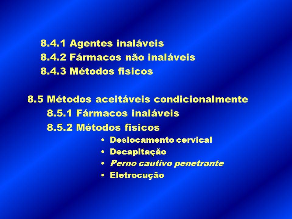 8.4.2 Fármacos não inaláveis 8.4.3 Métodos fisicos