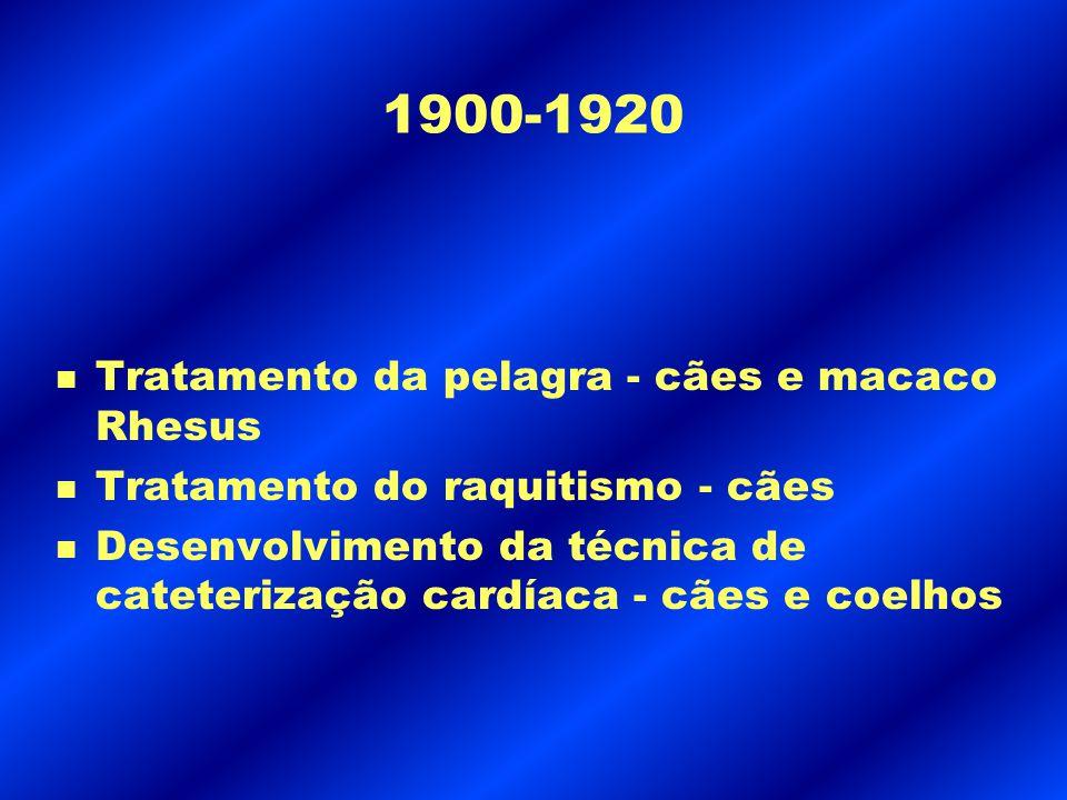 1900-1920 Tratamento da pelagra - cães e macaco Rhesus