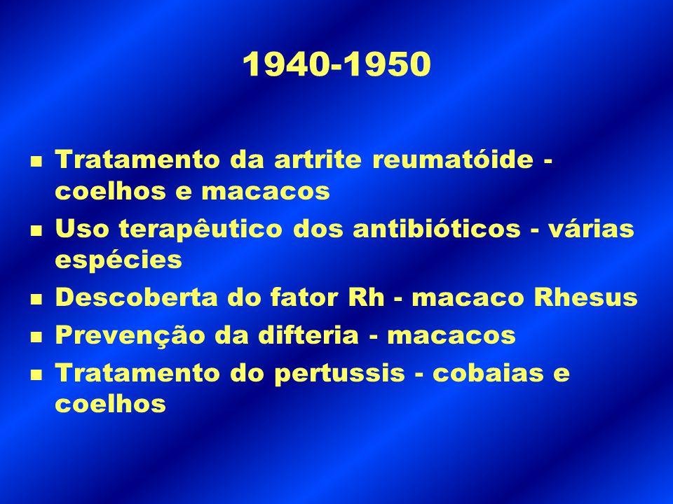 1940-1950 Tratamento da artrite reumatóide - coelhos e macacos