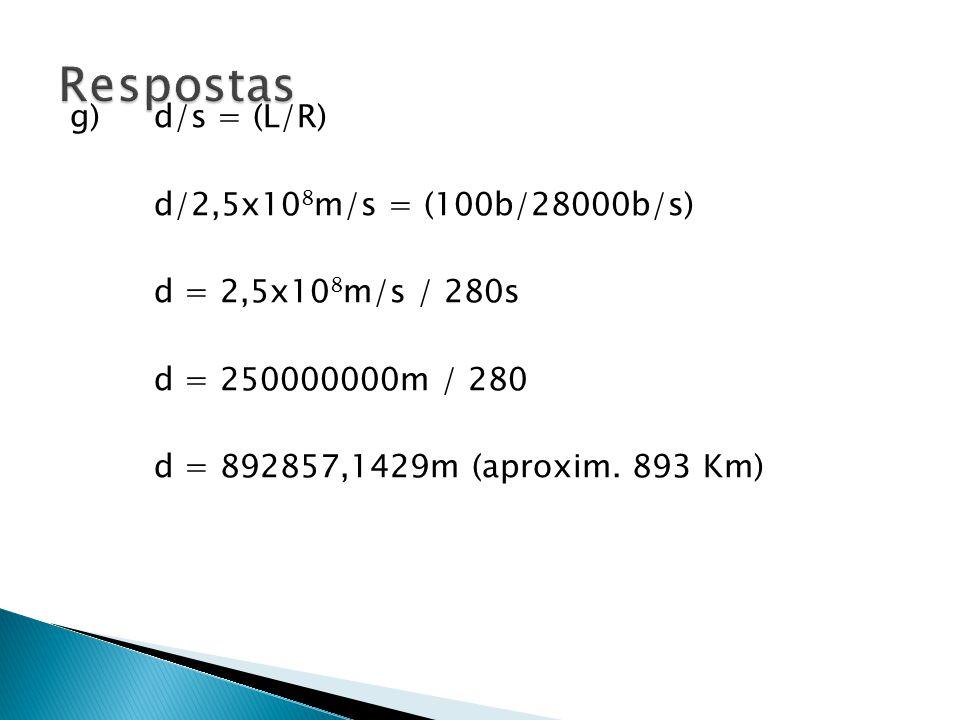 Respostas g) d/s = (L/R) d/2,5x108m/s = (100b/28000b/s)