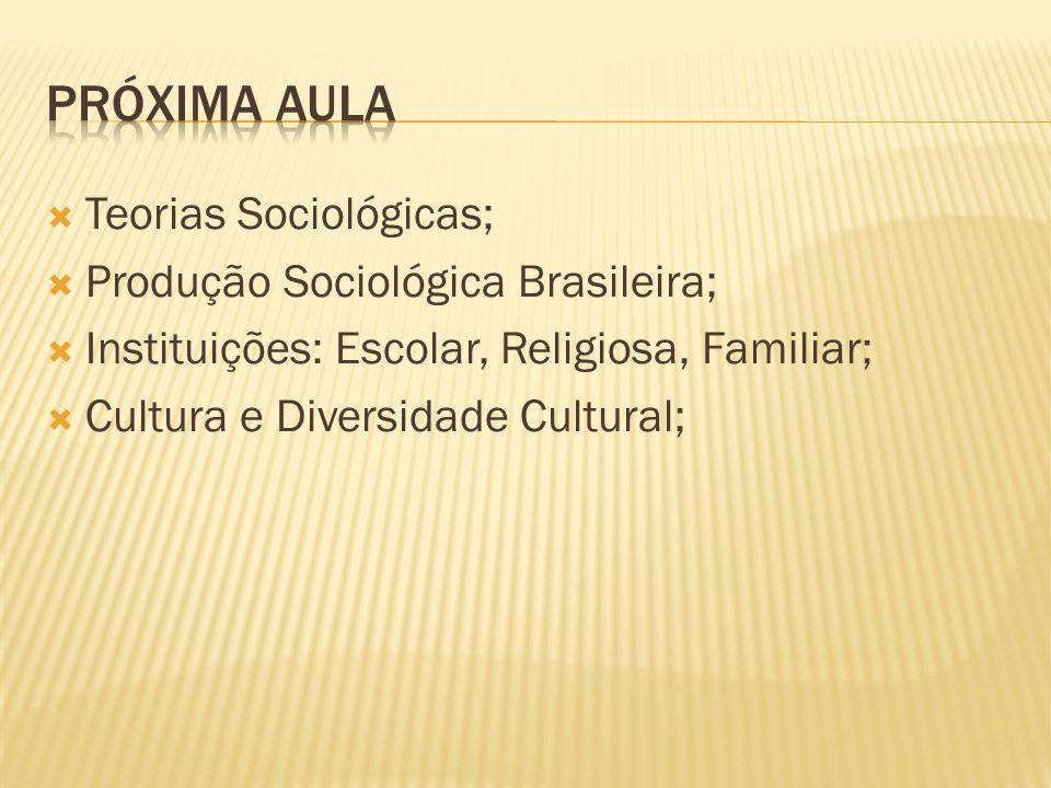 PRÓXIMA AULA Teorias Sociológicas; Produção Sociológica Brasileira;