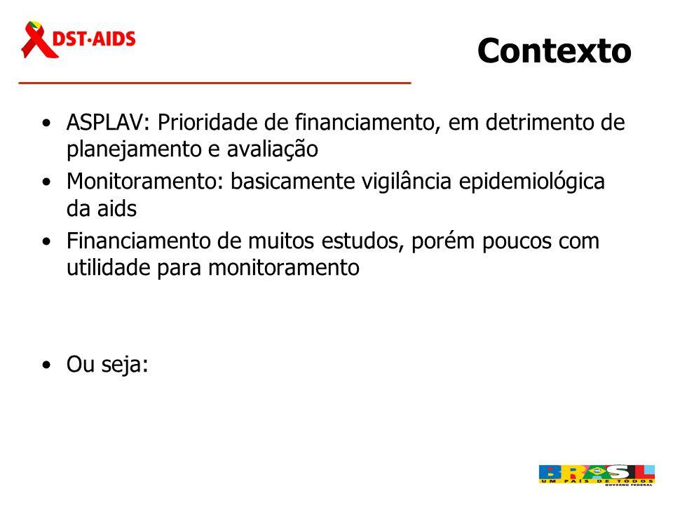Contexto ASPLAV: Prioridade de financiamento, em detrimento de planejamento e avaliação.