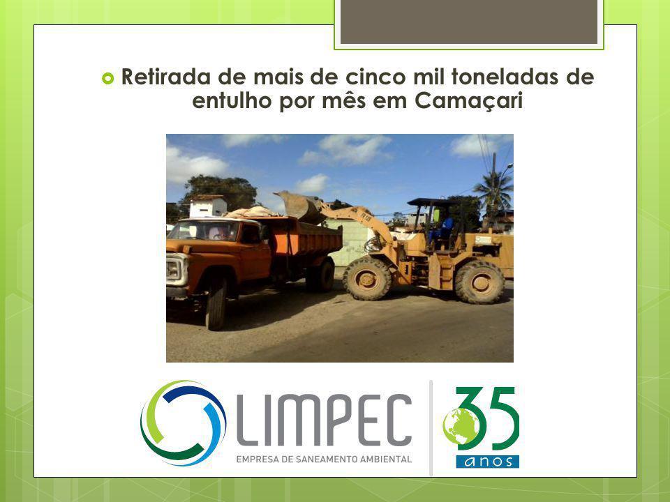 Retirada de mais de cinco mil toneladas de entulho por mês em Camaçari