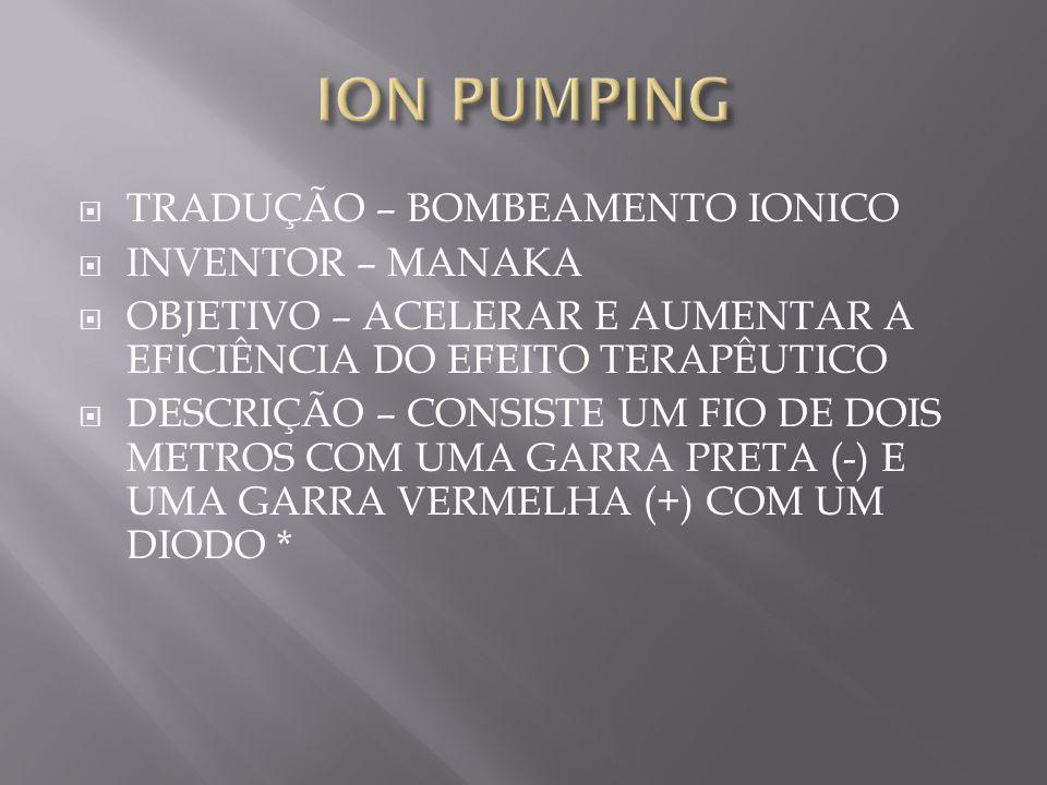ION PUMPING TRADUÇÃO – BOMBEAMENTO IONICO INVENTOR – MANAKA