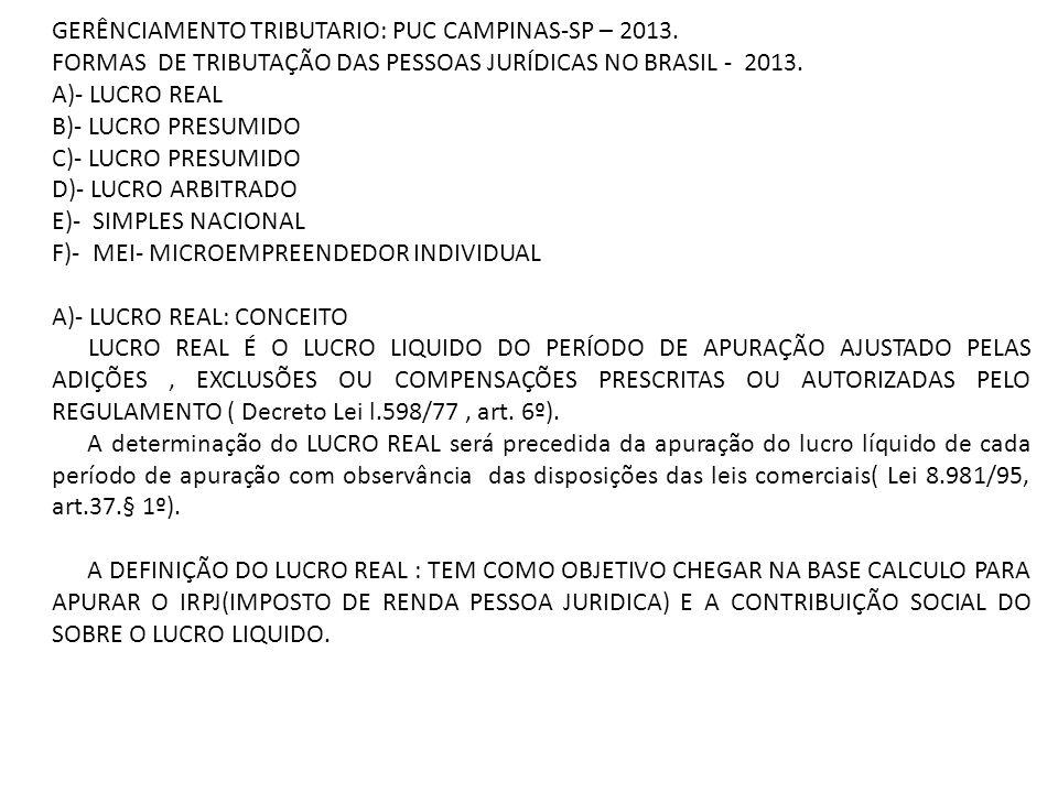 GERÊNCIAMENTO TRIBUTARIO: PUC CAMPINAS-SP – 2013.