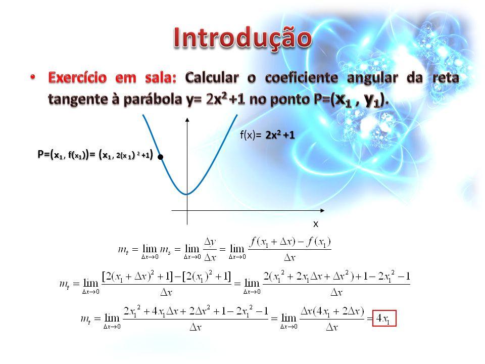 Introdução Exercício em sala: Calcular o coeficiente angular da reta tangente à parábola y= 2x2 +1 no ponto P=(x1 , y1).