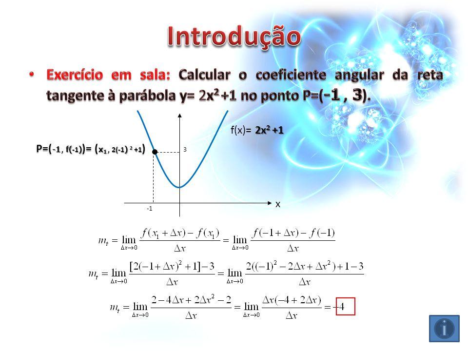 Introdução Exercício em sala: Calcular o coeficiente angular da reta tangente à parábola y= 2x2 +1 no ponto P=(-1 , 3).