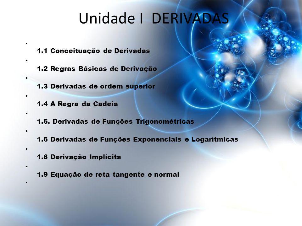 Unidade I DERIVADAS 1.2 Regras Básicas de Derivação