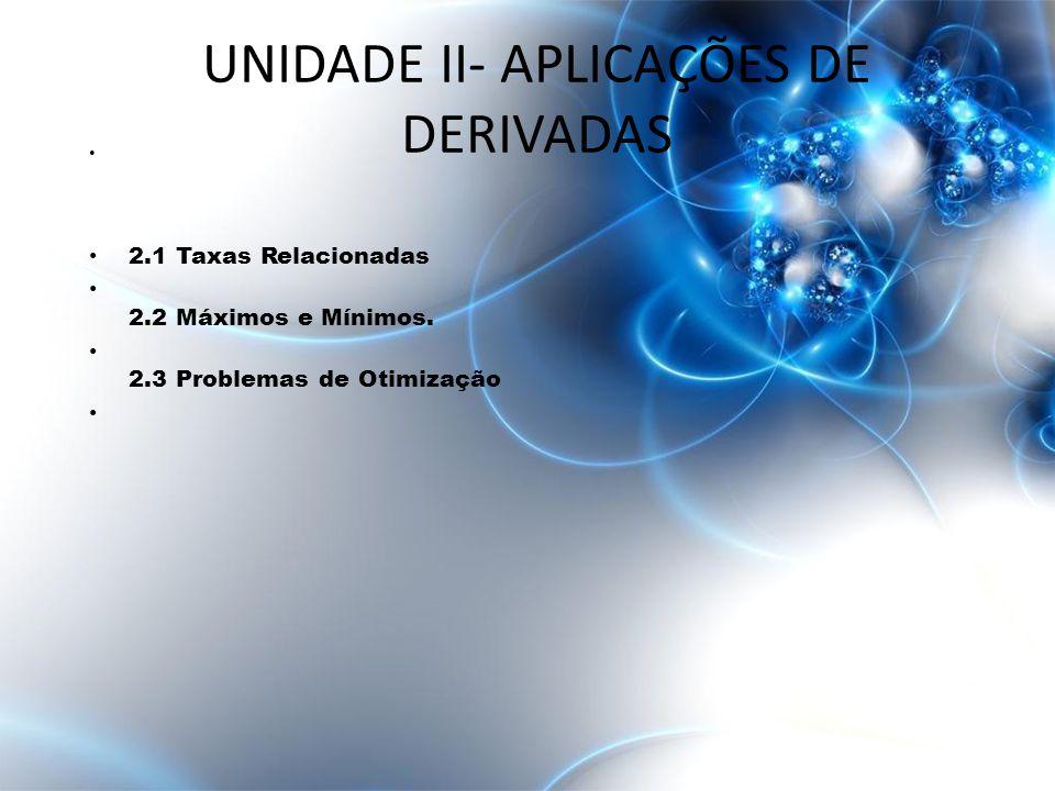 UNIDADE II- APLICAÇÕES DE DERIVADAS