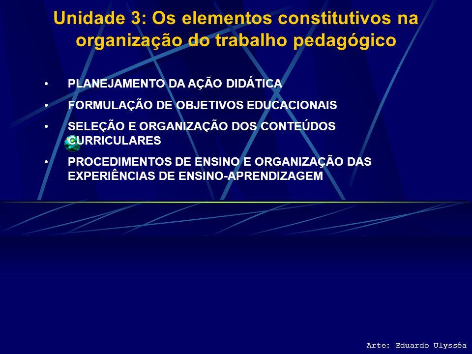 Unidade 3: Os elementos constitutivos na organização do trabalho pedagógico