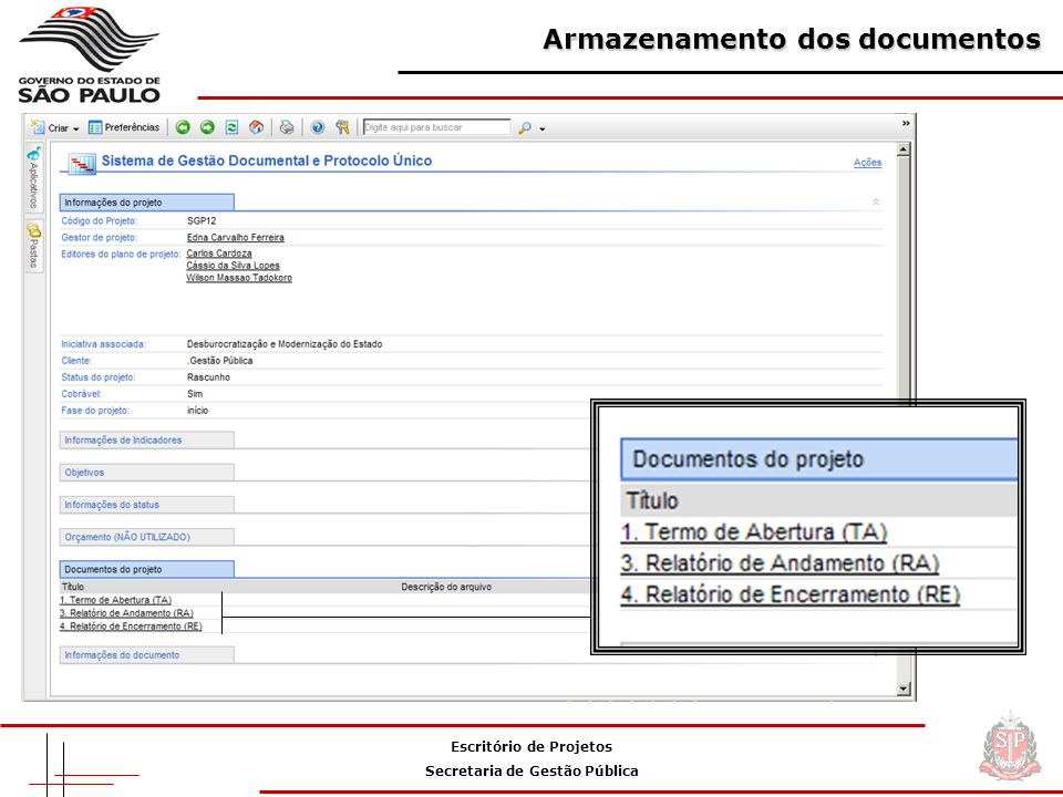 Armazenamento dos documentos