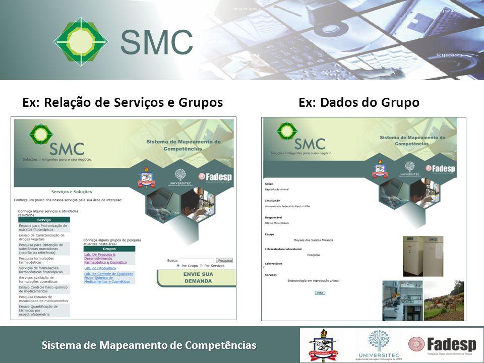 Ex: Relação de Serviços e Grupos Sistema de Mapeamento de Competências