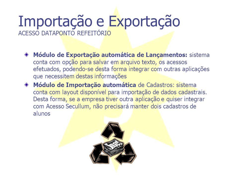 Importação e Exportação ACESSO DATAPONTO REFEITÓRIO