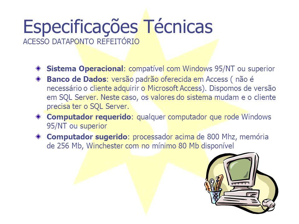 Especificações Técnicas ACESSO DATAPONTO REFEITÓRIO