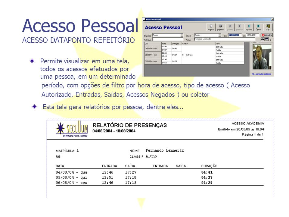 Acesso Pessoal ACESSO DATAPONTO REFEITÓRIO