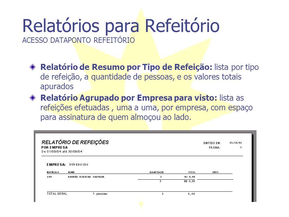 Relatórios para Refeitório ACESSO DATAPONTO REFEITÓRIO